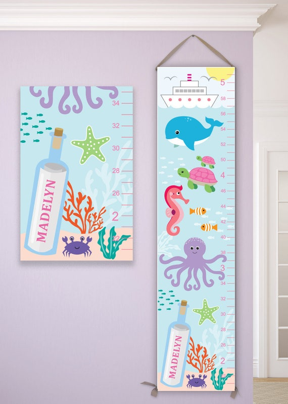 Ocean Canvas Growth Chart, Ocean Nursery Decor, Ocean Animals, Ocean Baby, Ocean Nautical Decor, Ocean Theme Nursery, Gift - GC4002A