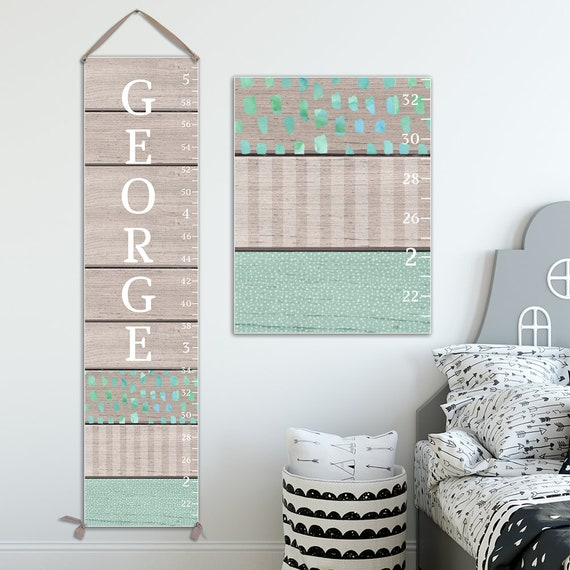 Canvas Growth Chart - Wood and Mint Green Image Design - Growth Chart Ruler - GC0117T