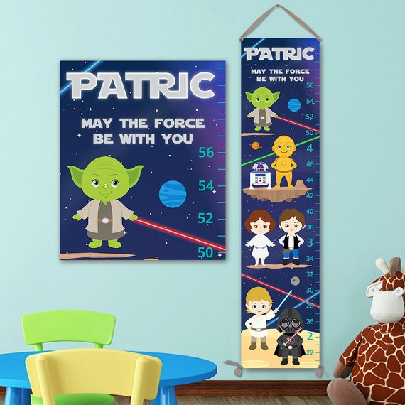Star Wars Baby - Canvas Growth Chart -  Star Wars Kids Art, Star Wars Nursery, Star Wars Gift -