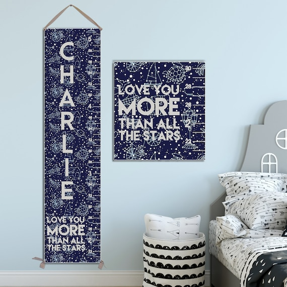 Constellations Growth Chart, Solar System Nursery Decor, Personalized Canvas Growth Chart, Constellations Kids Art Print