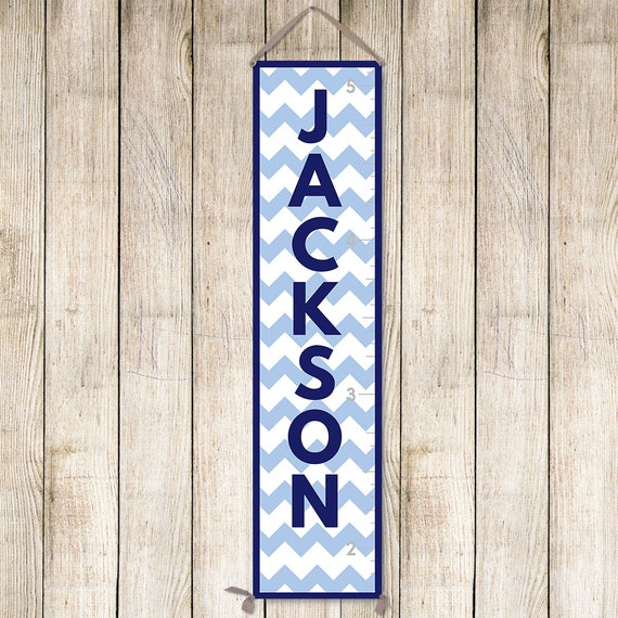 Chevron Growth Chart - Custom Colors! Personalized Canvas Growth Chart, Navy Growth Chart, Growth Chart Ruler - GC6003N