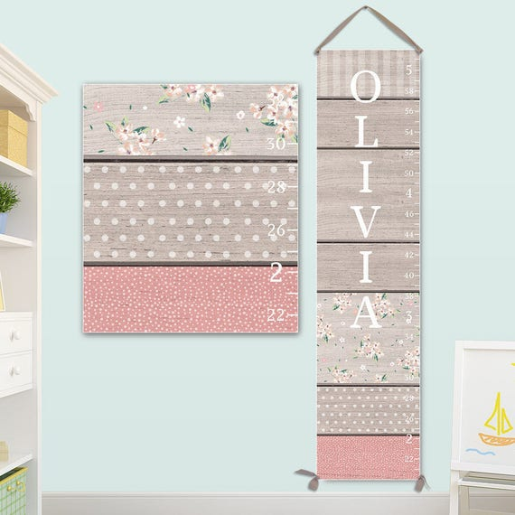 Girls Growth Chart - Canvas Growth Chart with Wood and Pattern Design - Growth Chart Ruler - GC0115S