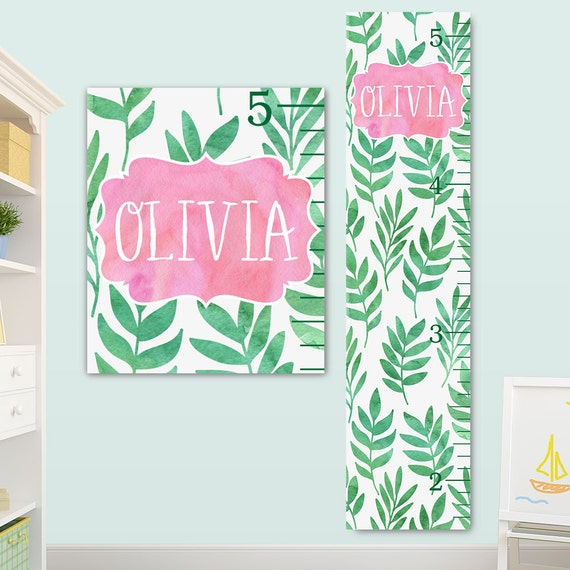 Palm Leaf Growth Chart, Canvas Height Chart, Palm Leaf Kids Art, Palm Leaf Name Sign, Palm Leaf Print, Girls Growth Chart
