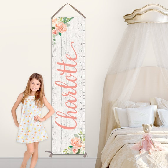Personalized Canvas Growth Chart with Floral Nursery Design, Girls Growth Chart, First Birthday Gift Girls