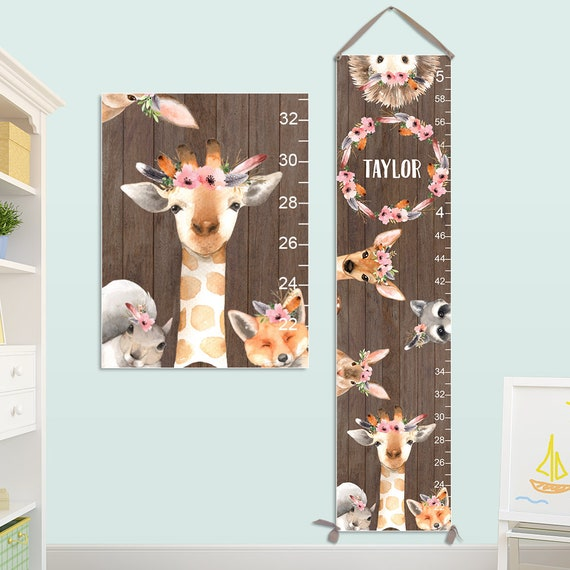 Giraffe Growth Chart - Personalized Canvas Growth Chart on Canvas with Woodland Animals and Flower Crowns