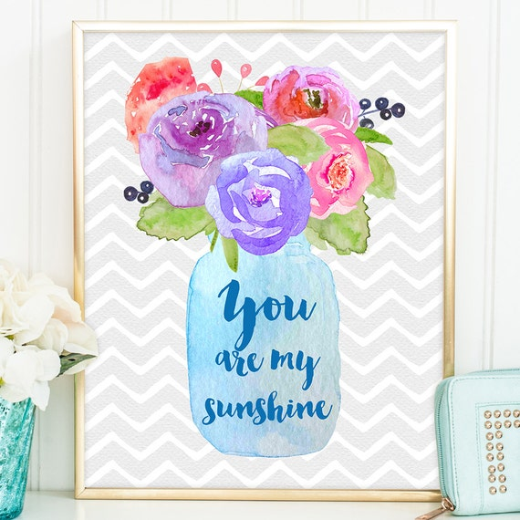 You Are My Sunshine Art Print - Valentines Gift, Valentines Day Gift, Valentine, Quote Print, Anniversary Gift, Wedding Gift - QD0029G