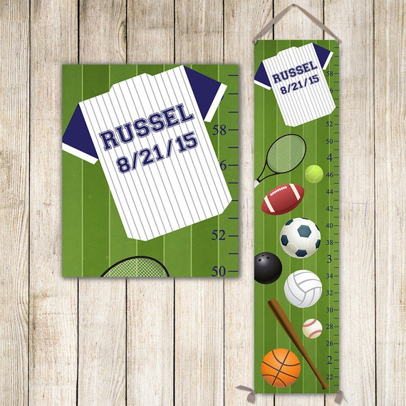 Baseball Growth Chart - Canvas Growth Chart Personalized with Child's Name, Perfect For A Sports Nursery Decor - GC3003S