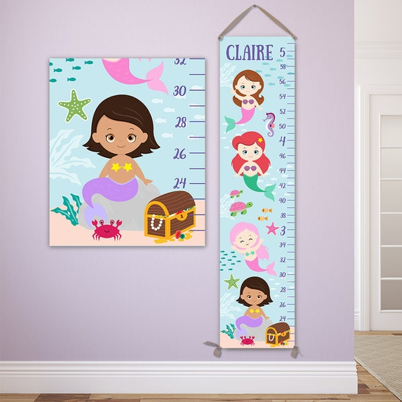 Mermaid Growth Chart, Mermaid Decor, Mermaid Nursery Art, Mermaid Nursery Decor, Mermaid Kids, Mermaid Baby, Mermaid Art - GC4334M