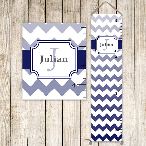 Navy Chevron Growth Chart - Personalized Canvas Growth Chart, Boys Growth Chart - GC6000N