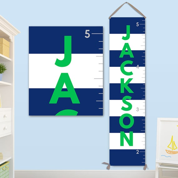 Boys Growth Chart with Navy Blue Stripes - Canvas Growth Chart