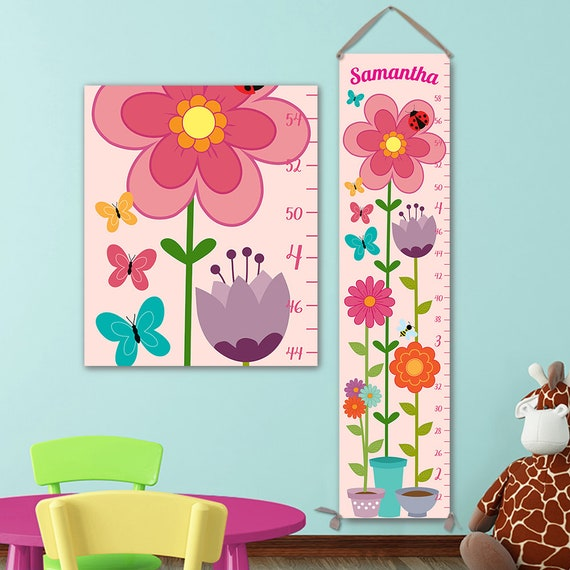 Floral Growth Chart - Flowers Flowerpot Growth Chart, Height Chart Ruler, Girls Growth Chart, Canvas Growth Chart - GC1000S