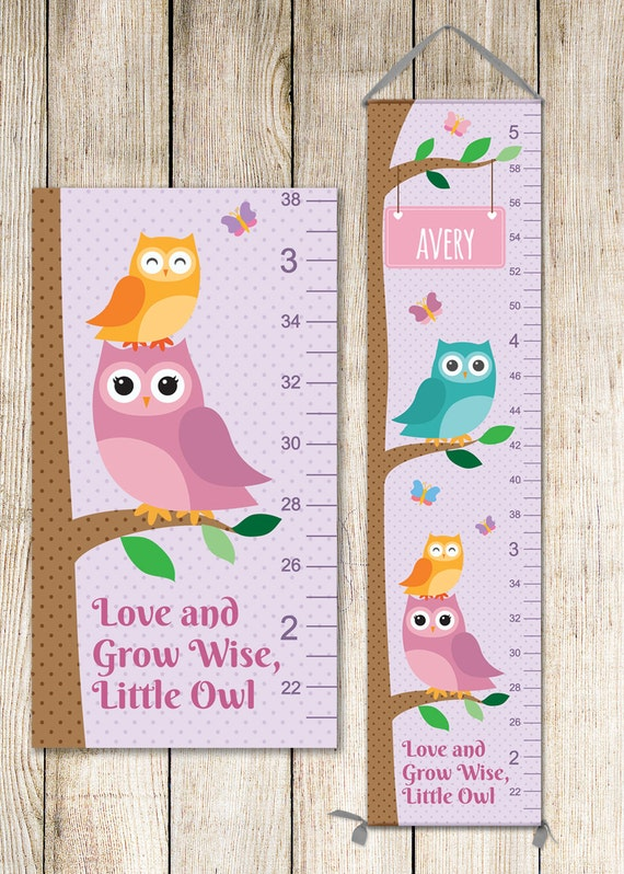 Owl Growth Chart, Canvas Growth Chart, Personalized Growth Chart, Owl Growth Chart, Owl Height Chart, Owl Nursery Decor, Owl - GC4000