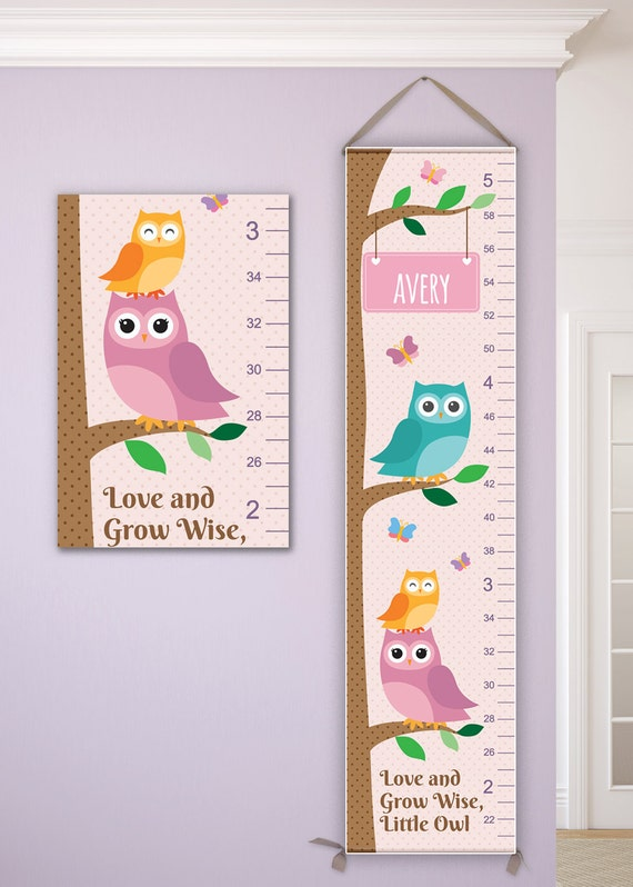 Owl Canvas Growth Chart, Personalized Growth Chart, Owl Nursery, Woodland Nursery, Owl Decor - GC4000PAYL
