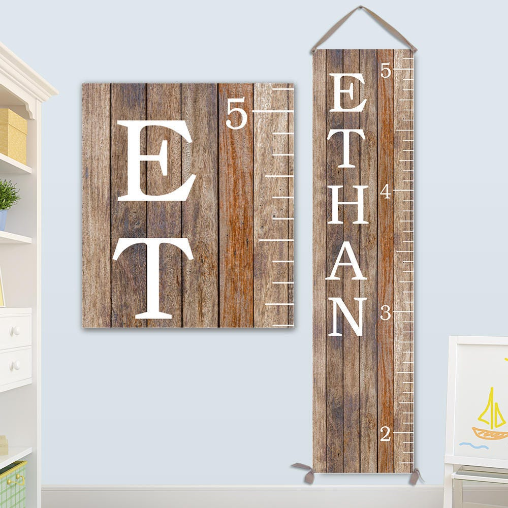 Canvas Growth Chart Wooden Growth Chart Alternative Personalized