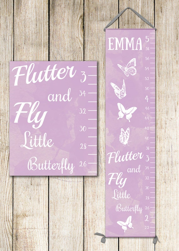Butterfly Growth Chart In Lavender Or Pink Growth Chart Girl Etsy