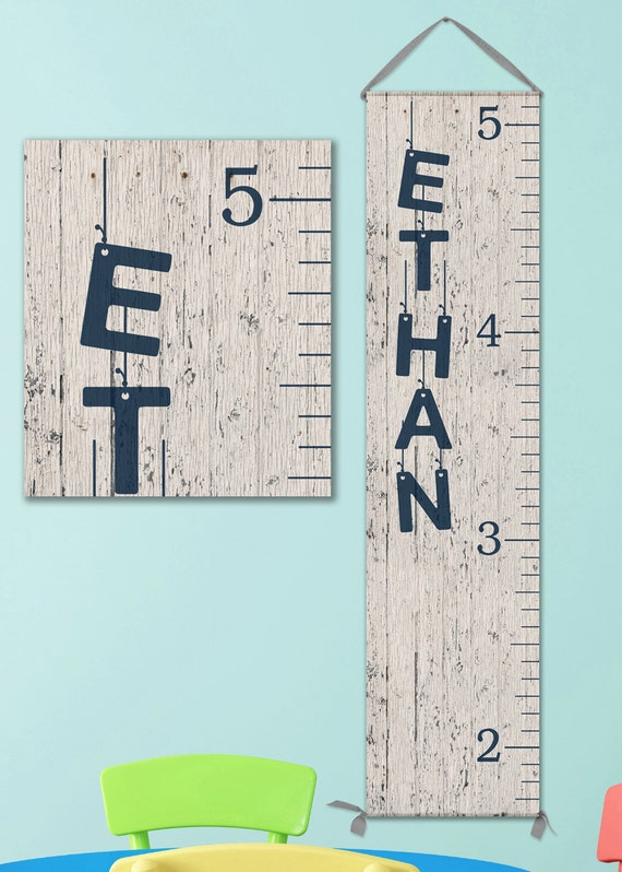 Canvas Growth Chart - Personalized, Image of Wood, Growth Chart Ruler, Personalized Baby Boy Gifts, Growth Chart Boy - GC0100N