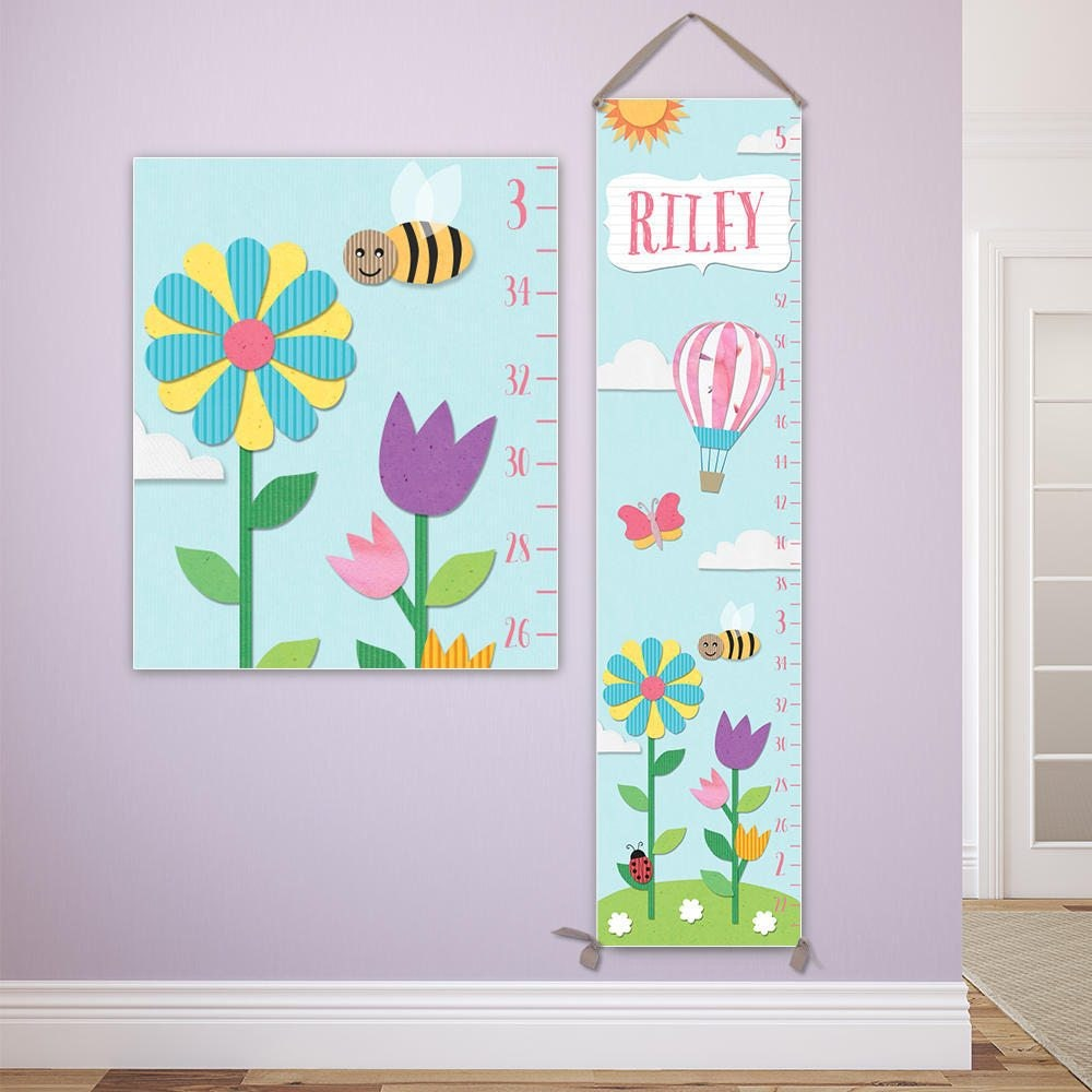 Paper Cut Style Growth Chart Personalized Canvas Growth Chart