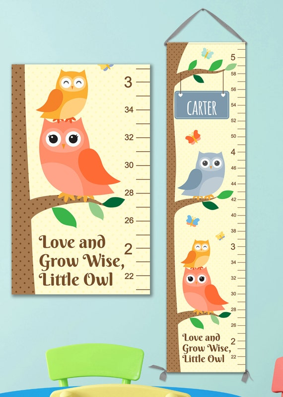 Owl Growth Chart Boy - Perfect for Woodland Nursery or Owl Nursery, Boys Growth Chart,  Personalized Canvas Growth Chart