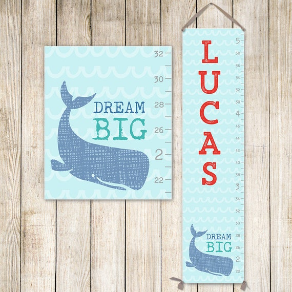 Nautical Growth Chart - Canvas Personalized Growth Chart, Boy Growth Chart, Nautical Nursery Decor - GC3005S