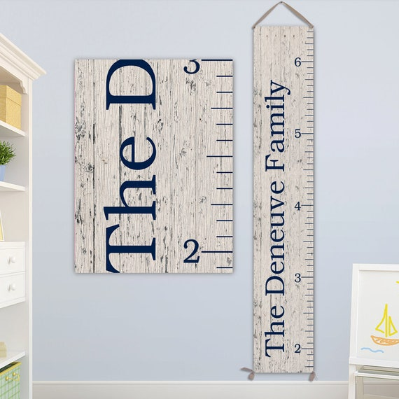 "Family Art - Measures to 6'6"" - Personalized Canvas Growth Chart, Growth Chart Ruler, Family Sign, Family Name Sign - GC0102N"