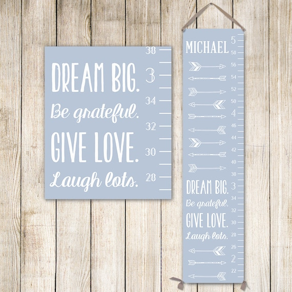 Arrows Growth Chart - Personalized Canvas Growth Chart with Arrows - Custom Background Color