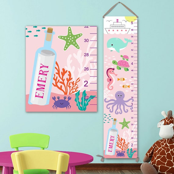 Ocean Growth Chart - Personalized Canvas Growth Chart, Under the Sea Nursery, Ocean Height Chart, Under The Sea Growth Chart - GC4002P