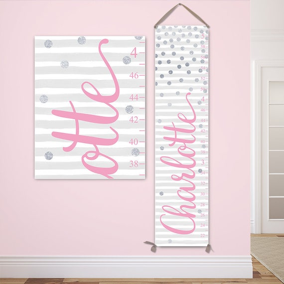 Girl Growth Chart - Personalized Canvas Growth Chart, Pink and Silver Nursery Decor, Polka Dots Nursery Decor