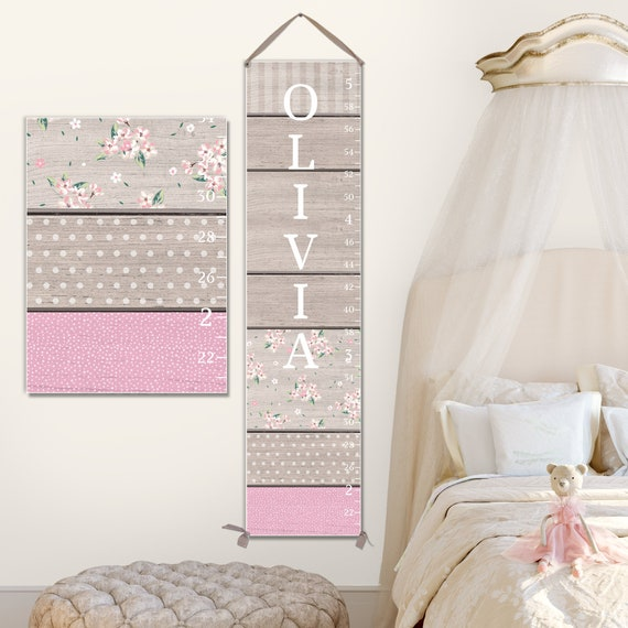Girls Canvas Growth Chart - Cute Wood Image, Personalized Growth Chart