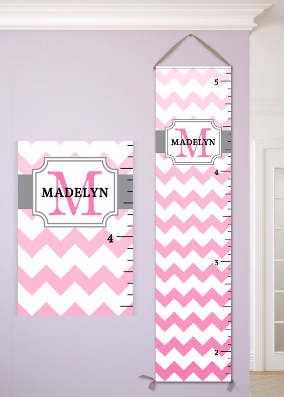 Chevron Growth Chart, Chevron Nursery, Pink and Grey Nursery, Pink and Gray Nursery Decor, Pink Chevron, Pink and Grey Chevronn - GC6000P
