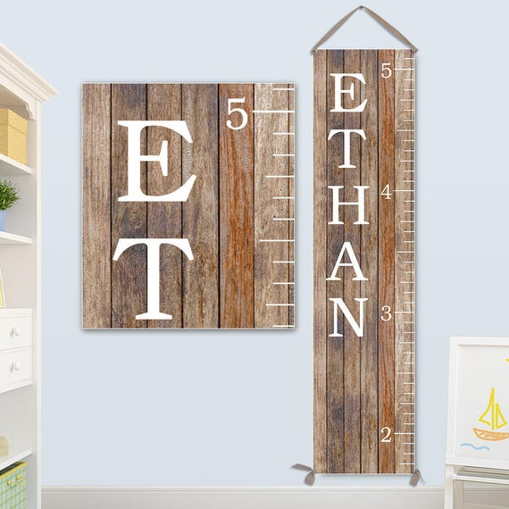 Growth Chart Boy - Growth Chart Ruler Canvas, Wood Image on Canvas, Personalized Growth Chart - GC0118S_Ang