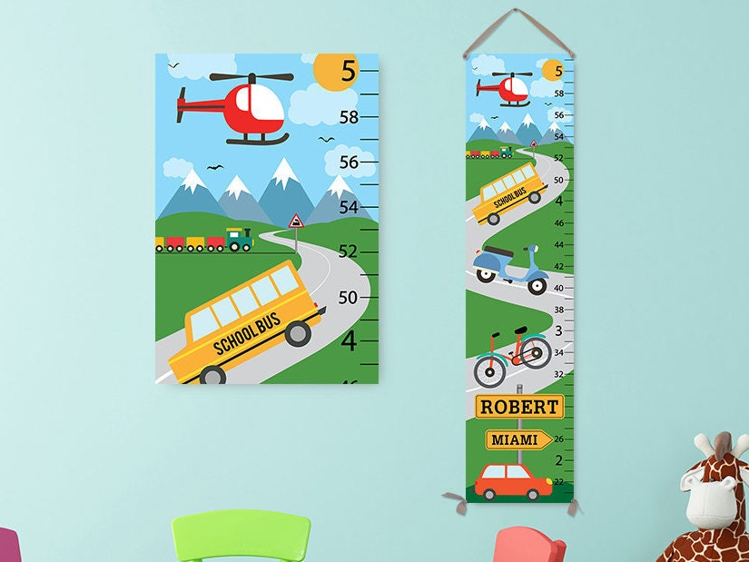 Transportation Growth Chart Personalized Growth Chart Cars Kids