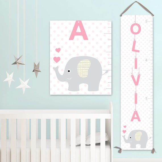 Elephant Growth Chart - Personalized Canvas Growth Chart, Elephant Baby Shower, Elephant Decor, Elephant Print, Animal Nursery - GC2014S