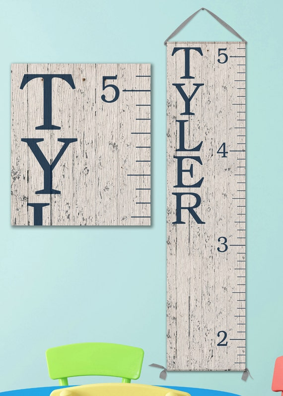 Modern Personalized Canvas Growth Chart with Wood Image - Boy Growth Chart Perfect for Any Nursery Design - GC0100N