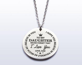 4f81c0a8189 Daughter Necklace Gift to my Daughter Dad daughter gift To My Daughter  Never Forget That I Love You Love Dad Necklace