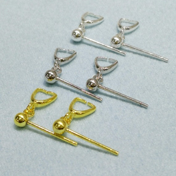 1 Pair 5mm Ball 2pcs S925 Sterling Silver Ball Earring Posts-16mm