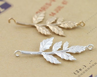 Matted Gold Plated Brass Olive Branch Charm, Leaves Charm, Connector, diy Crafts - 10pc