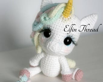 Elfin Thread- Lily Rainbow Cheeks the Chibi Unicorn Amigurumi PDF Pattern (Crochet Unicorn Pattern)