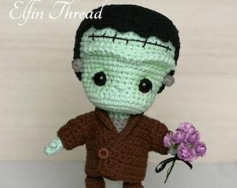 Elfin Thread- Frankenstein Chibi Doll Amigurumi PDF Pattern (Crochet Halloween doll/decor)