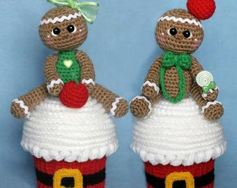 Elfin Thread- Giant Christmas Cupcake with Gingerbread Man Topper Amigurumi PDF Pattern (Crochet cupcake, Crochet gingerbread doll)
