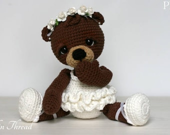 Elfin Thread- Bonbon, the Ballerina Bear Amigurumi PDF PAttern (Crochet Ballerina Bear)