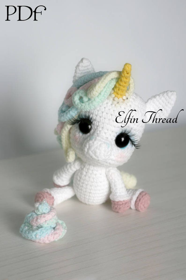 Elfin Thread Lily Rainbow Cheeks the Chibi Unicorn Amigurumi image 0