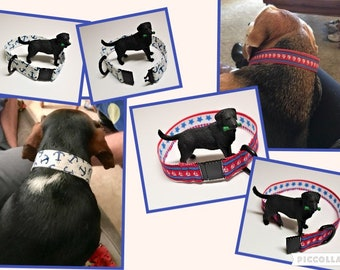 Breakaway dog collar, 1 inch wide safety collar, Custom fit to dog's neck, Tag collar, Indoor collar, Separates with 8lb of pressure