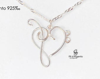Heart Treble Clef/Bass Clef Pendant Sterling Silver 925 ‰ - Craft
