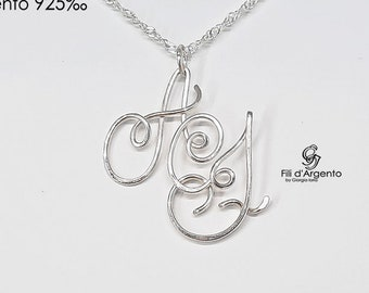 Pendant THREE letters 925 Sterling Silver