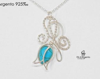 Tulip Pendant, Tulip Necklace, Wire Weaving, Sterling Silver 925