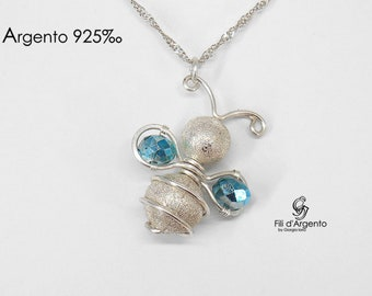 Bee Pendant, Bee Necklace, Wire Wrapped, 3D Bee Jewelry, Sterling Silver 925