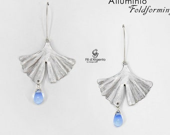 Ginkgo Foldforming Leaf Earrings, Aluminum and Glass Drops - Craft