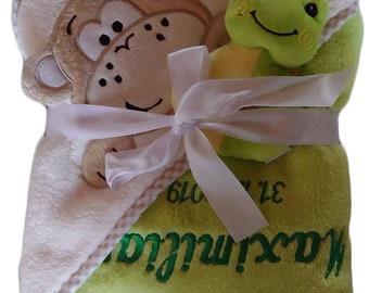 Baby Kapuzenhandtuch mit Namen bestickt Kapuzentuch Badetuch Taufe Geburt