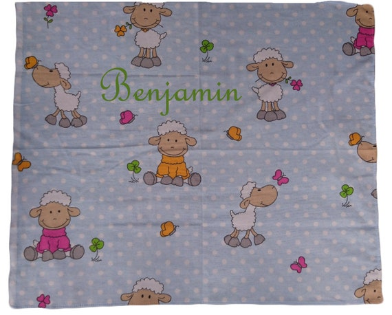 Baby Spucktuch Schaf mit Namen bestickt Mullwindel Spuckt/ücher Geschenk Baby Taufe Geburt beige