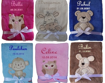 Cute baby blanket with name embroidered cuddly baptism birth teddy gift baby child blanket birthday